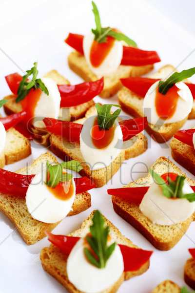 toast with pepper and cheese garnish stock photo