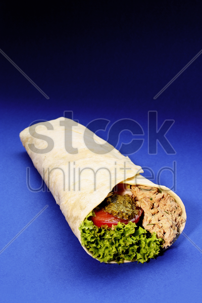 tortilla tuna salad wrap stock photo