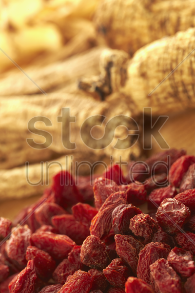 traditional chinese herb chinese wolfberries and dong sum stock photo