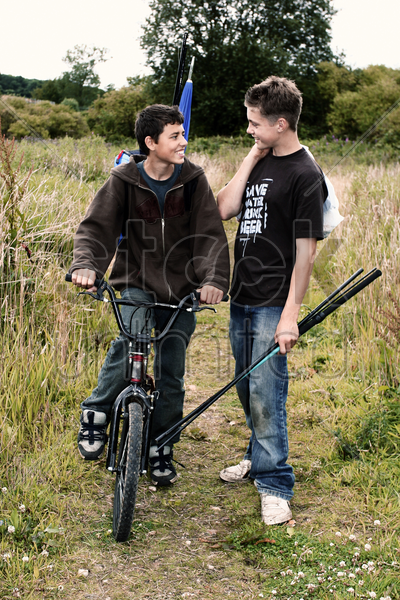 two boys talking stock photo