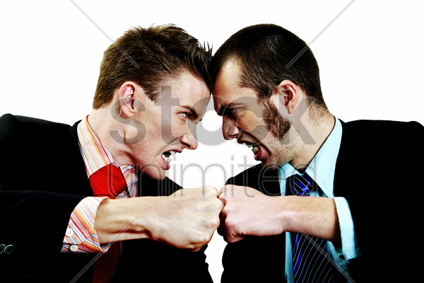 two businessmen in an argument stock photo