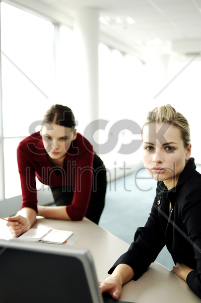 two businesswomen having discussion stock photo