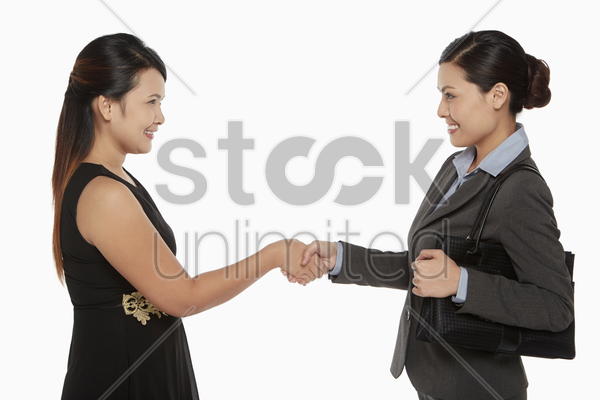 two businesswomen shaking hands stock photo