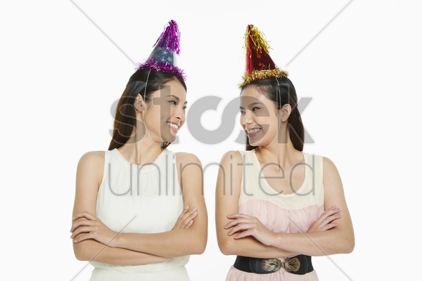 two cheerful women smiling stock photo