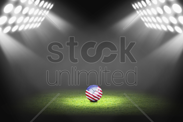 united states ball on the soccer field stock photo