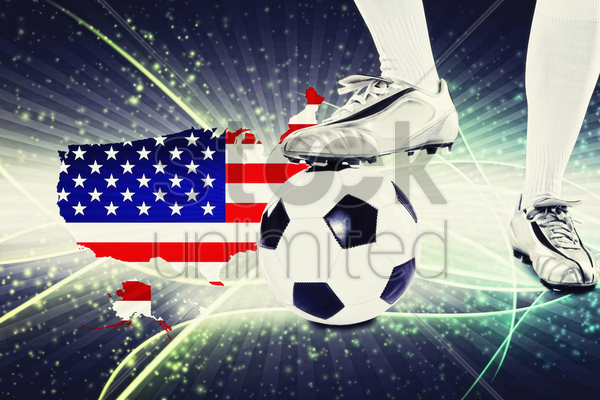 united states of america soccer player ready for kick off stock photo
