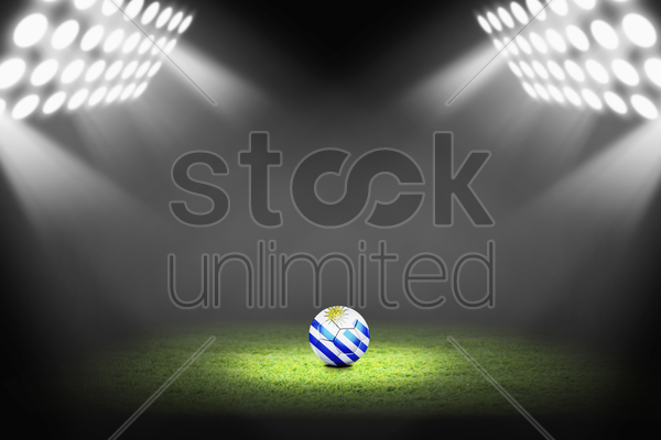 uruguay ball on the soccer field stock photo
