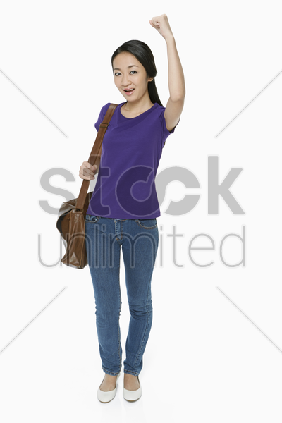 woman cheering and smiling stock photo