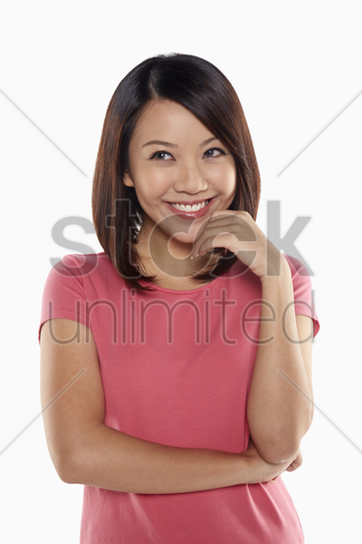 woman contemplating stock photo