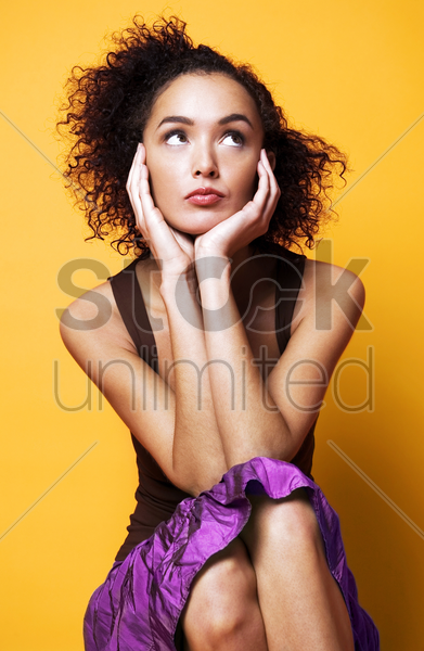 woman daydreaming stock photo