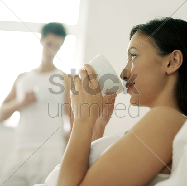 woman drinking coffee stock photo