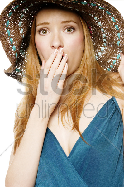 woman in disbelief stock photo
