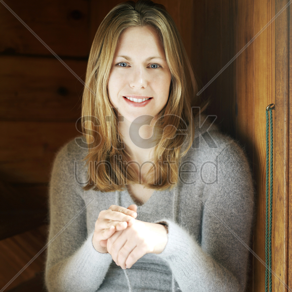 woman in the chalet stock photo
