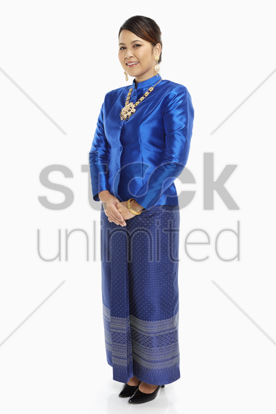 woman in traditional clothing with a smile stock photo