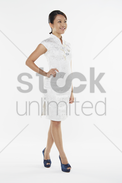 woman in traditional costume smiling stock photo