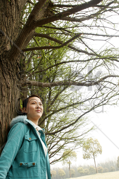 woman leaning against a tree stock photo