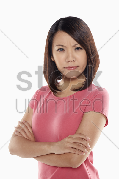 woman looking angry stock photo