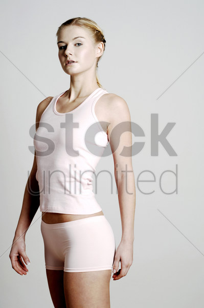 woman looking at the camera stock photo