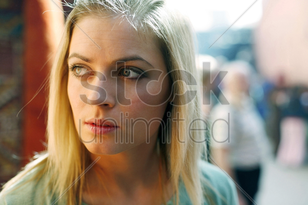 woman looking away stock photo