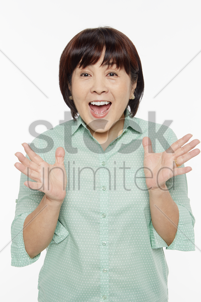 woman looking very surprised stock photo