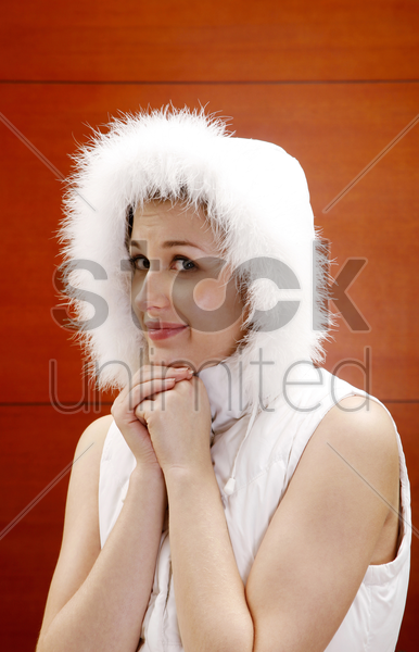woman making an adorable pose stock photo
