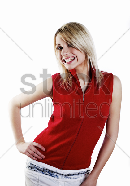 woman posing and smiling stock photo