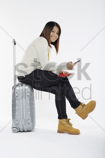 woman reading text message stock photo