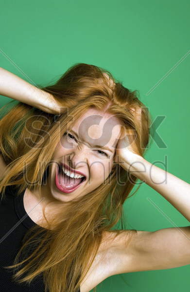 woman screaming stock photo