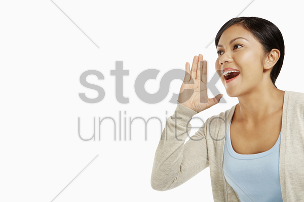 woman shouting out stock photo