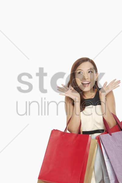 woman showing a surprised facial expression stock photo