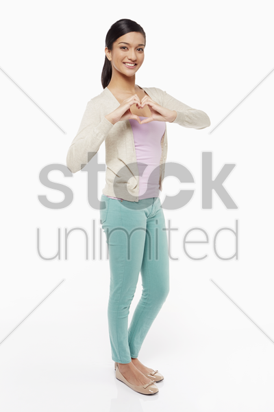woman showing hand gesture stock photo