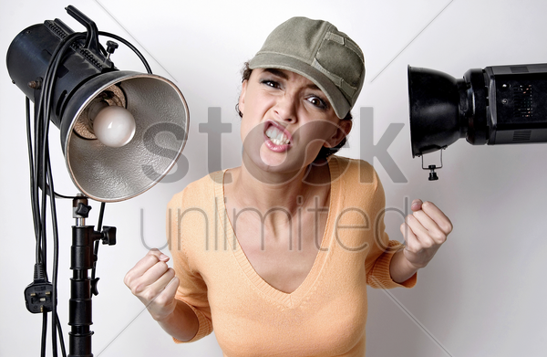 woman showing her frustration stock photo