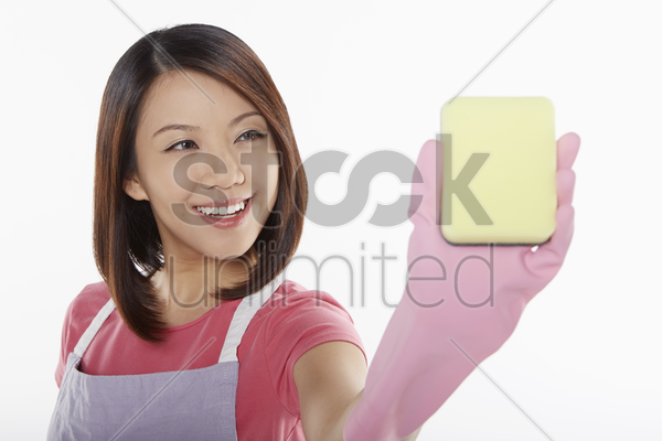 woman showing the wiping motion stock photo
