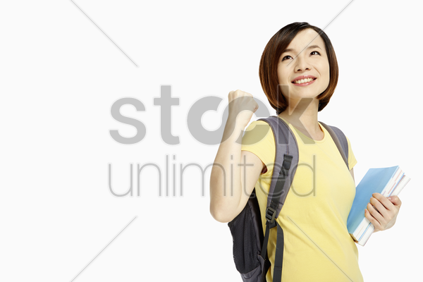 woman smiling and cheering stock photo