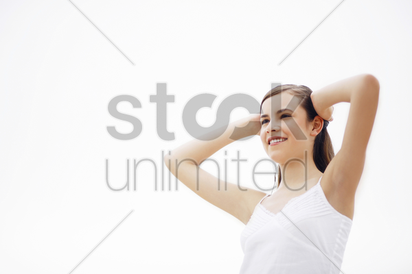 woman smiling stock photo