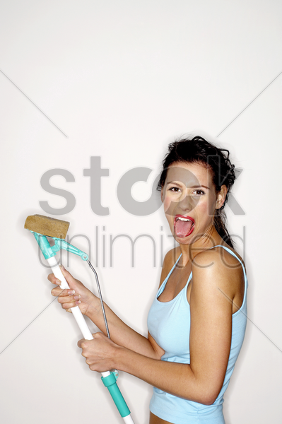 woman sticking her tongue out stock photo