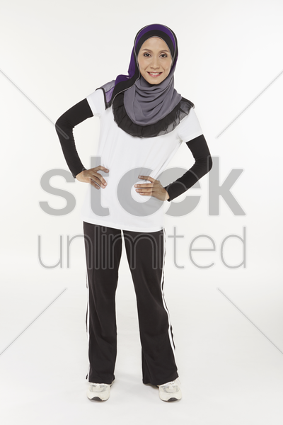 woman stretching, moving to the left stock photo