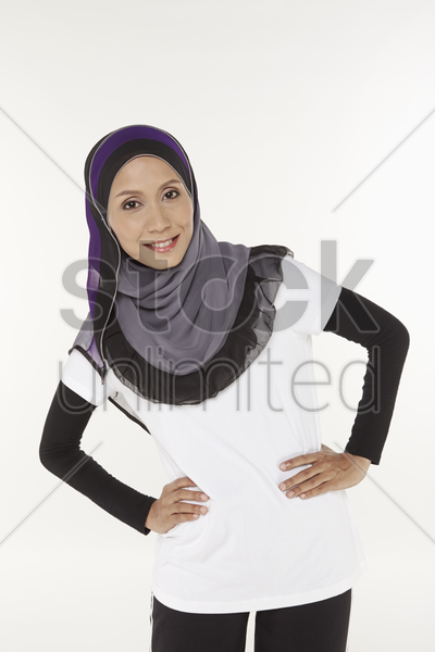 woman stretching, moving to the right stock photo