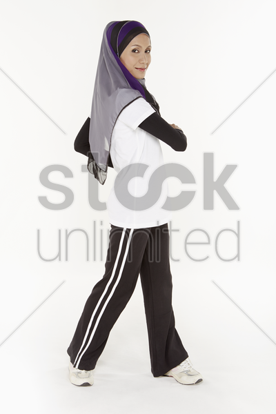 woman swinging hips to the left stock photo