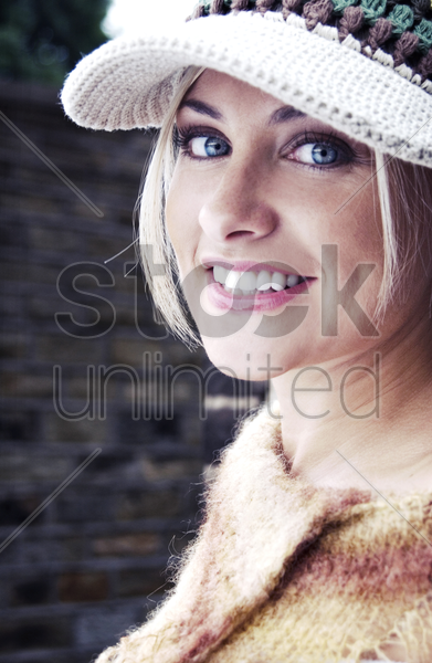 woman wearing cap stock photo