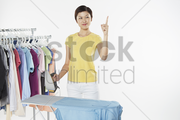 woman with a plan in mind stock photo