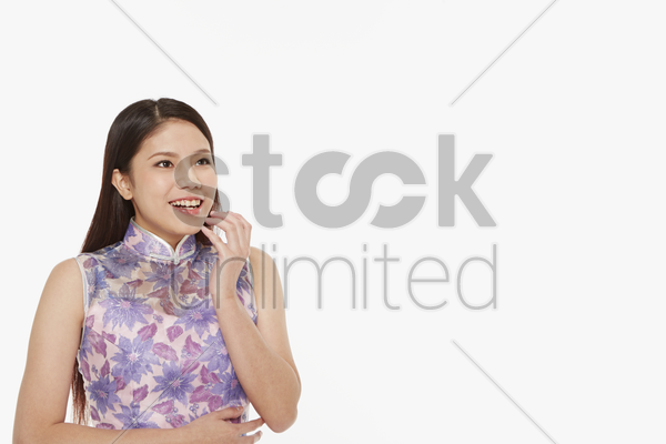 woman with a surprised facial expression stock photo