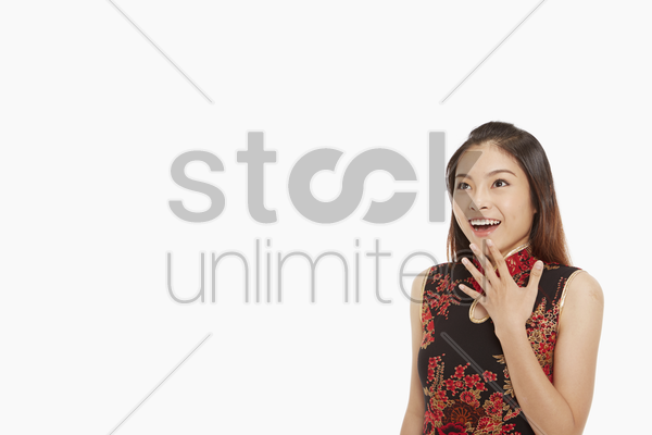 woman with a surprised look stock photo