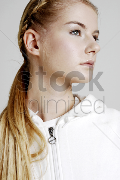 woman with braided hair stock photo