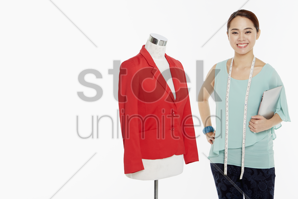 woman with digital tablet, smiling stock photo