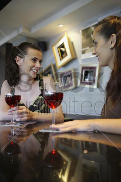women having wine at the bar counter stock photo