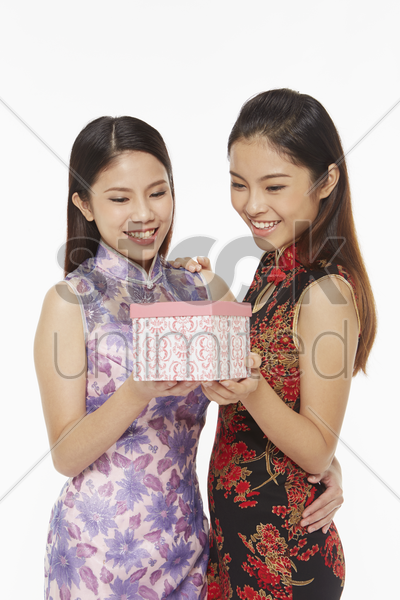 women holding a gift box stock photo