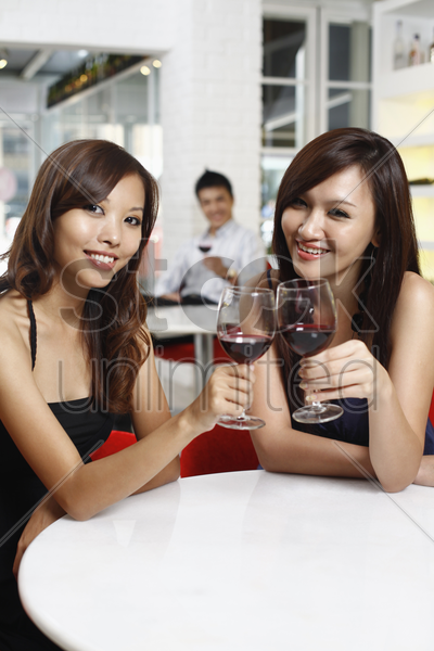 women toasting wine stock photo