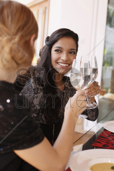 women toasting stock photo