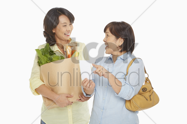 women with groceries checking their shopping list stock photo